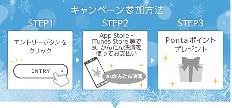 キャンペーン参加方法 STEP1 エントリーボタンをクリック、STEP2 App Store・iTunes Store等でauかんたん決済を使ってお支払い、STEP3 Ponta ポイントプレゼント