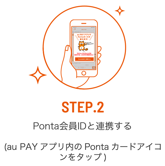 STEP2 Ponta会員IDと連携する au PAY アプリ内のPontaカードアイコンをタップ