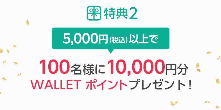 特典2 5,000円(税込)以上で 100名様に10,000円分au WALLET ポイントプレゼント!