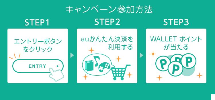 キャンペーン参加方法 STEP1 エントリーボタンをクリック、STEP2 お支払いでauかんたん決済を利用する、STEP3 au WALLET ポイントが当たる