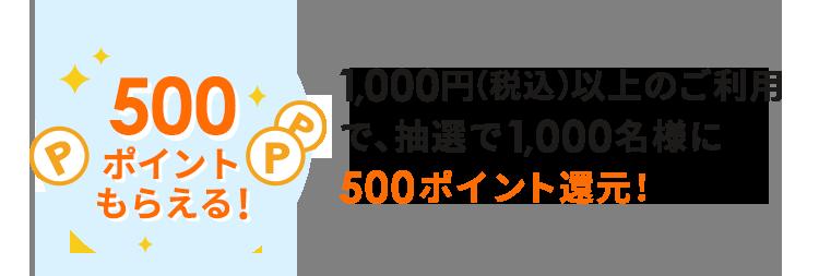 1,000円(税込)以上のご利用で、抽選で1,000名様に500ポイント還元!